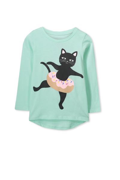 Penelope Long Sleeve Curved Hem, SEAGLASS/CAT IN DONUT