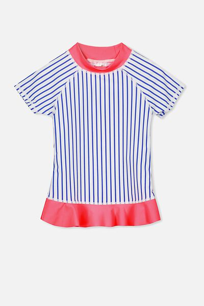 Hamilton Short Sleeve Rashie, VANILLA/PRINCESS BLUE STRIPE