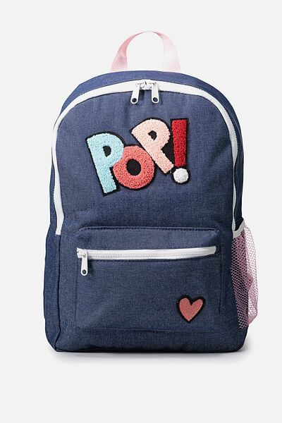 School Backpack, CHAMBRAY PATCHES