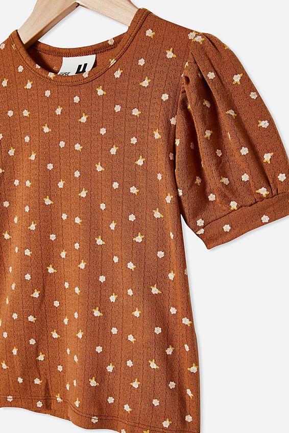 Jasmine Puff Sleeve Top, CARAMELTOFFEE/DITSY FLORAL