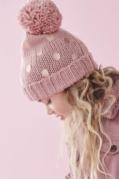 Winter Knit Beanie, ROSE GOLD SPOT POM POM