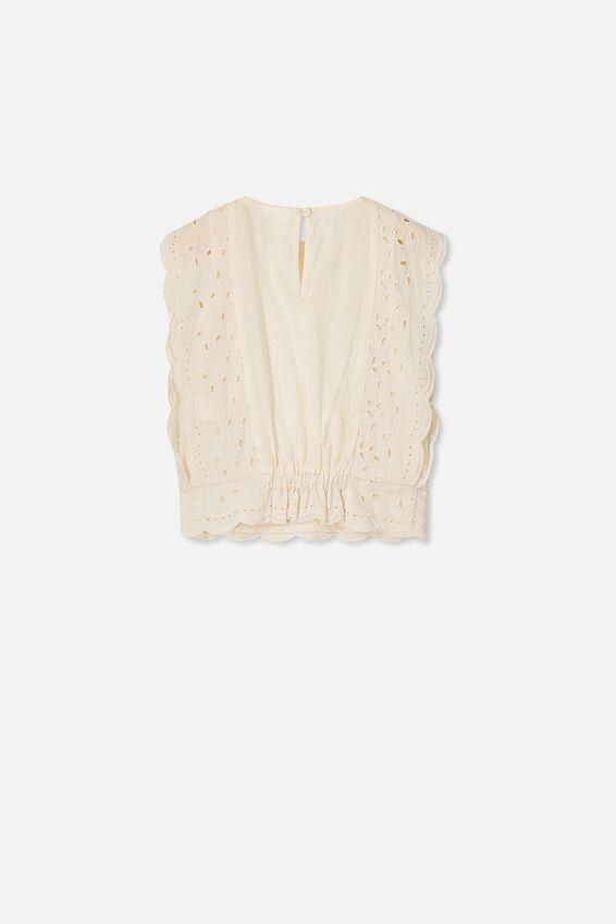 Maisie Frill Sleeve Top, DARK VANILLA