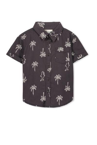Jackson S/Slv Shirt, WASHED GRAPHITE/SHARKS