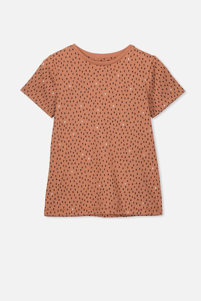 Penelope Short Sleeve Tee, AMBER BROWN/DAB SPOTS/MAX