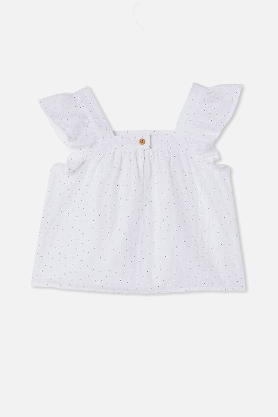 Perri Ruffle Sleeve Top, WHITE/PUFF DAISY