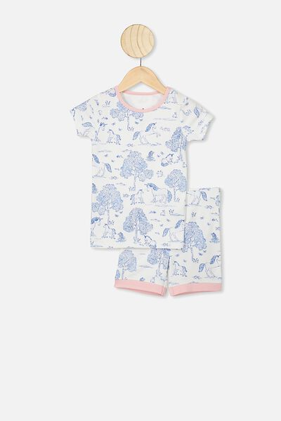 Nikki Short Sleeve Pajama Set, UNICORN TOILE/VANILLA