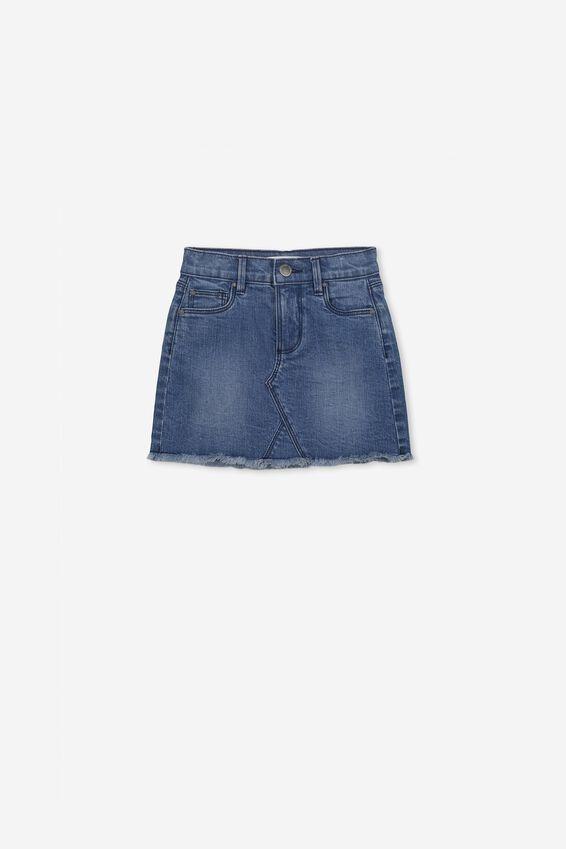Finn Denim Skirt, MID WASH