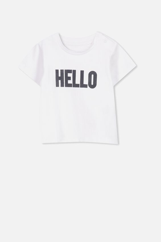 Jamie Short Sleeve Tee, WHITE/HELLO