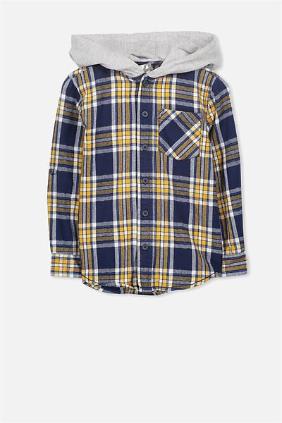 Harrison Hooded Long Sleeve Shirt, NAVY/YELLOW CHECK