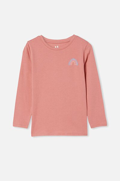 Penelope Long Sleeve Tee, EARTH CLAY/RAINBOW FRONT AND BACK