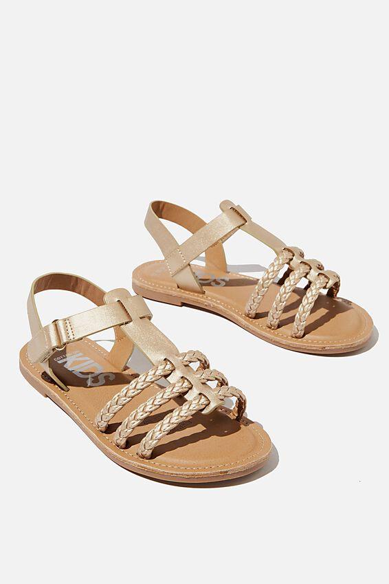 Woven Braid Sandal, METALLIC GOLD