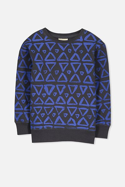 Lachy Crew Sweater, GRAPHITE/BLUE TRIANGLES