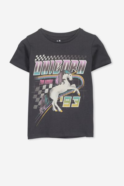 Penelope Short Sleeve Tee, PHANTOM/MOTO UNICORN/MAX