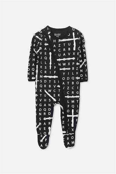 Sleep Mini Zip All In One Jumpsuit, BLACK/BLACK LETTER FUN