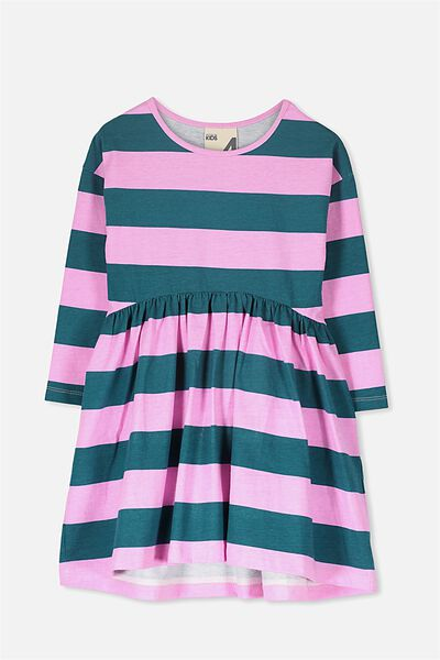 Nicola Long Sleeve Dress, SHADED SPRUCE/LILAC CHIFFON STRIPE