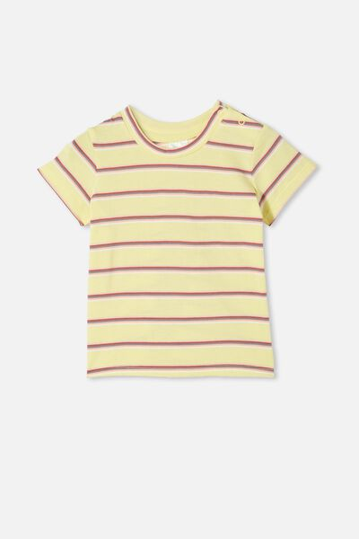 Jamie Short Sleeve Tee, LEMON DROP/RAINBOW STRIPE