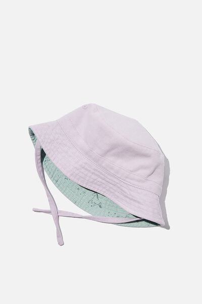 Reversible Bucket Hat, PASTEL LILAC UNICORN