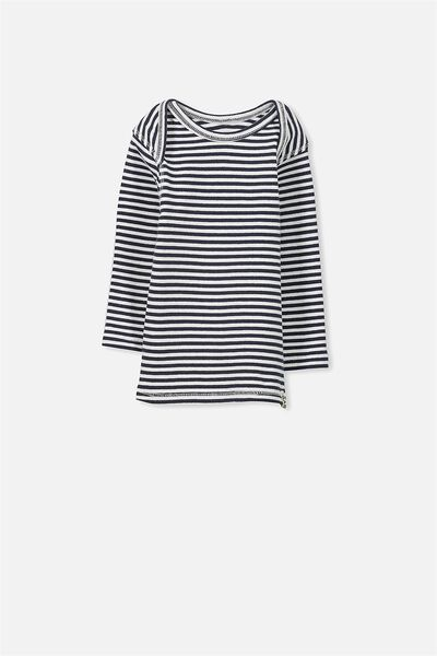 Mini Long Sleeve Rib Tee, INDIAN INK/VANILLA STRIPE