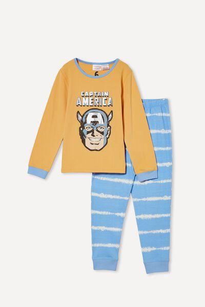 Orlando Long Sleeve Pyjama Set Licensed, LCN MAR CAPTAIN AMERICA/PAPAYA