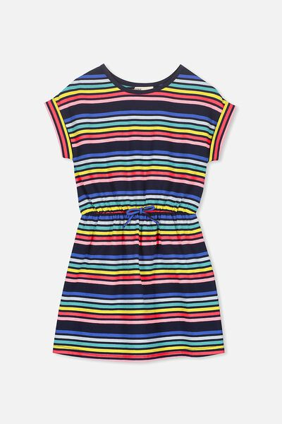 Sibella Short Sleeve Dress, PEACOAT/RAINBOW STRIPE
