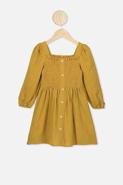 Lindsay Long Sleeve Dress, KEEN AS MUSTARD