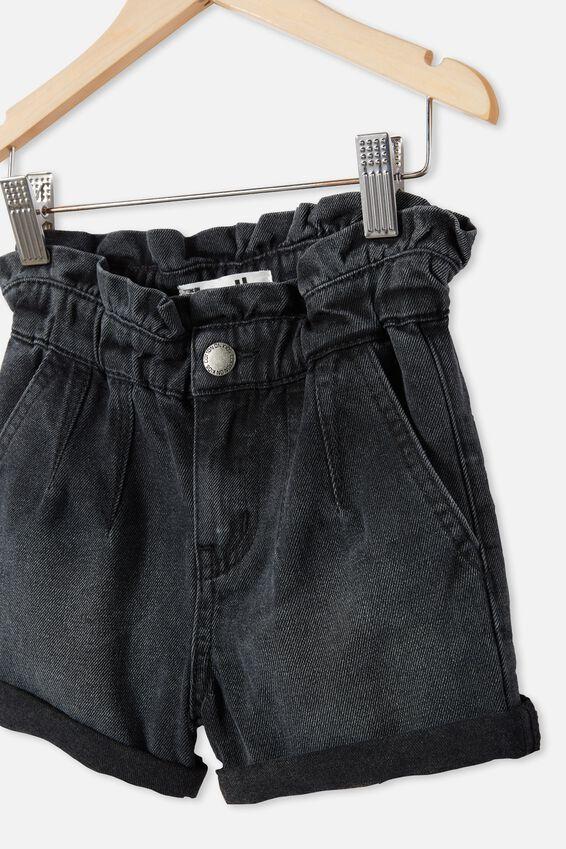 Peta Paperbag Short, BLACK WASH
