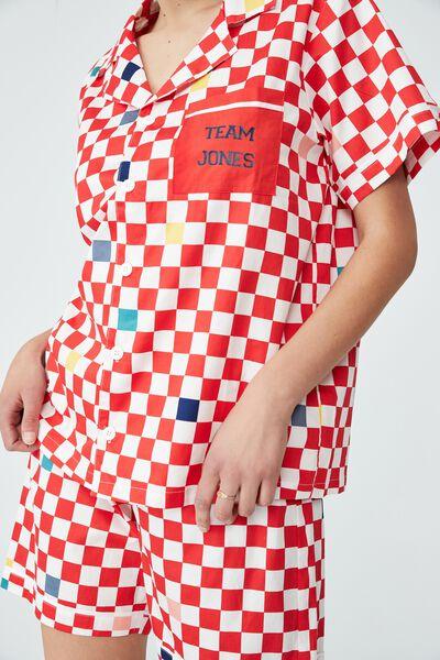 Carter  Short Sleeve Pyjama Set Personalised, XMAS JOY GINGHAM/RED ORANGE