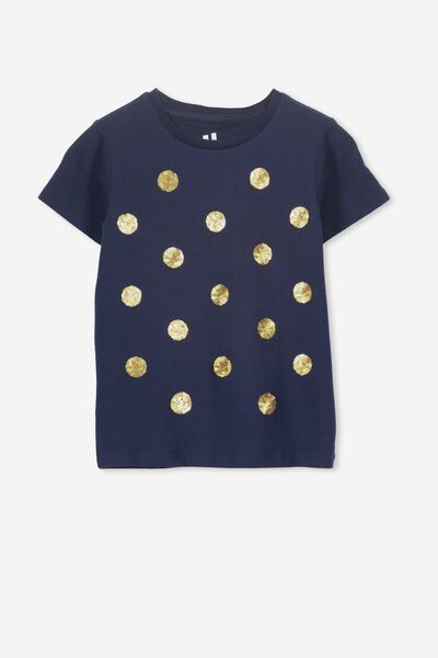 Stevie Ss Embellished Tee, PEACOAT/SEQUIN SPOTS