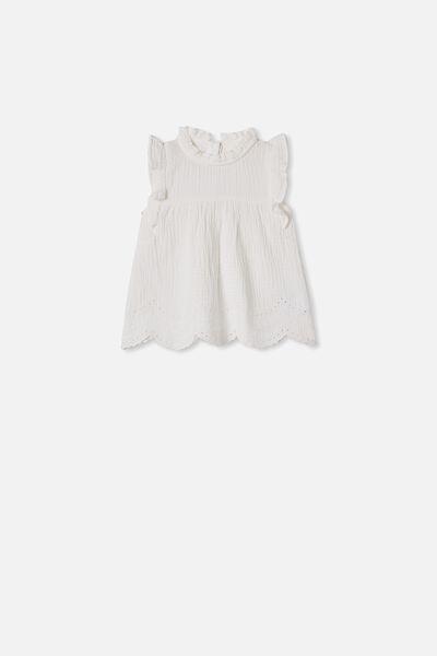 Jan Flutter Sleeve Dress, VANILLA