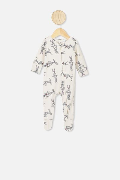 The Long Sleeve Zip Romper, LCN WB DARK VANILLA/BUGS BUNNY