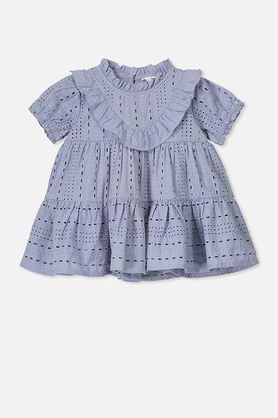 Layla Flutter Sleeve Dress, DUSTY BLUE