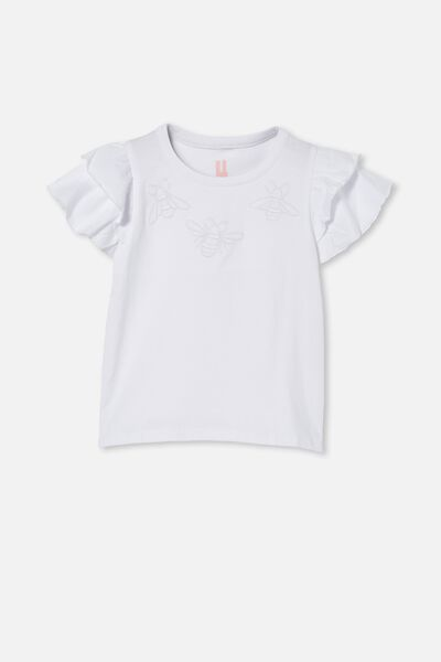 Fleur Flutter Sleeve Top, WHITE/BEES