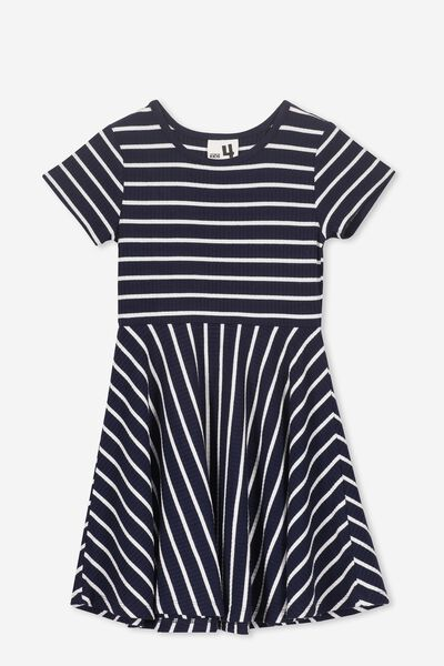 Riley Short Sleeve Dress, PEACOAT/WHITE STRIPE