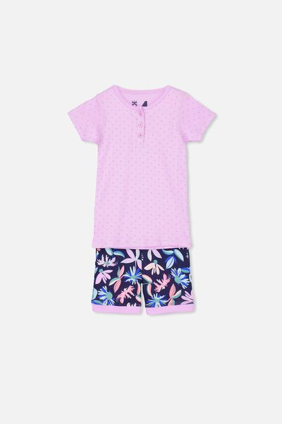 Chloe Girls Short Sleeve PJ Set, ABSTRACT FLORAL