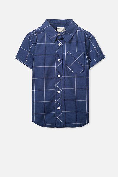 Jackson Short Sleeve Shirt, NAVY/CHECK