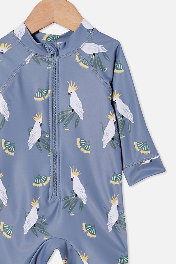 Cameron Long Sleeve Swimsuit, STEEL/COCKATOO GUMNUTS