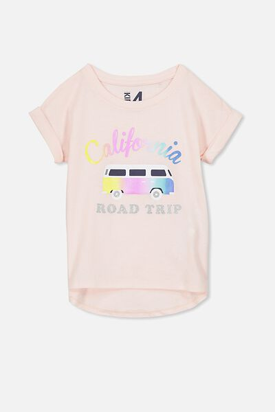 Penelope Short Sleeve Roll Up Tee, SHELL PEACH/CALIFORNIA ROAD TRIP