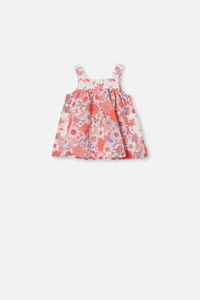Emma Pinafore Dress, VANILLA/RED ORANGE RETRO FLORAL