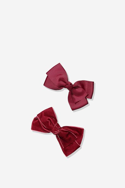 Hair Clips, BIG BOW/TIBETAN RED