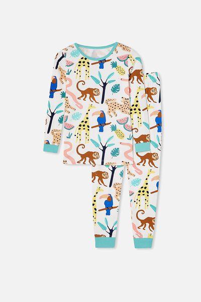 Lila Long Sleeve Pajama Set, JUNGLE ANIMAL/VANILLA