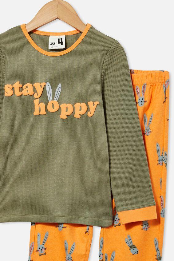Noah Long Sleeve Pyjama Set, STAY HOPPY/ SILVER SAGE
