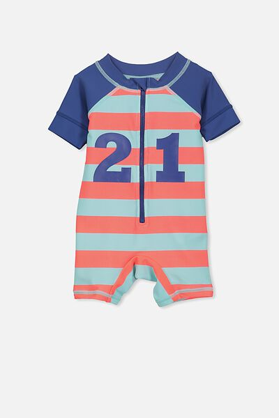 Short Sleeve Harris One Piece Swimsuit, BLUE TINT STRIPE/21