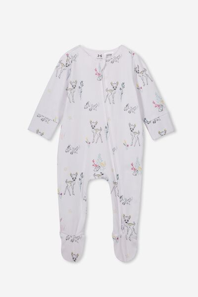 The Long Sleeve Zip Romper, LCN DIS WHITE/BAMBI