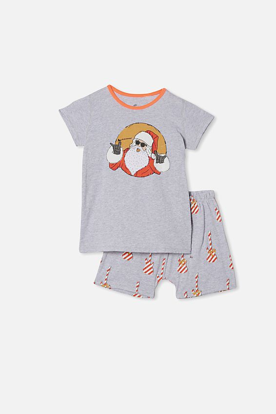 Hudson Short Sleeve Pyjama Set, GUITAR SANTA SUMMER GREY MARLE
