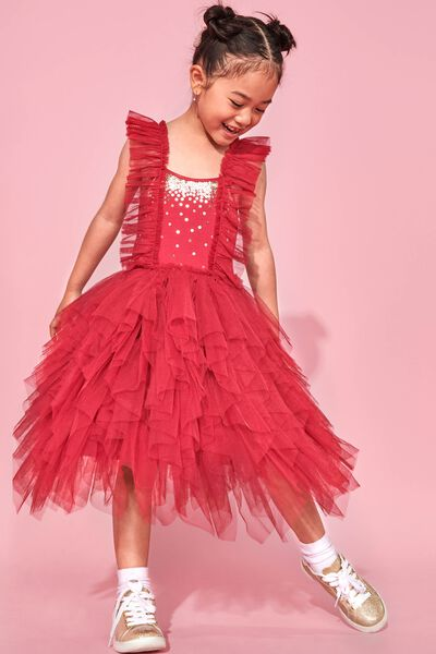 Iris Tulle Dress, BERRY RUFFLES/GOLD SPARKLE