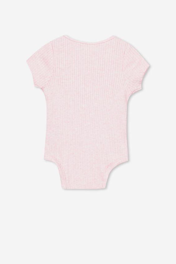 The Short Sleeve Button Bubbysuit, PINK MARLE