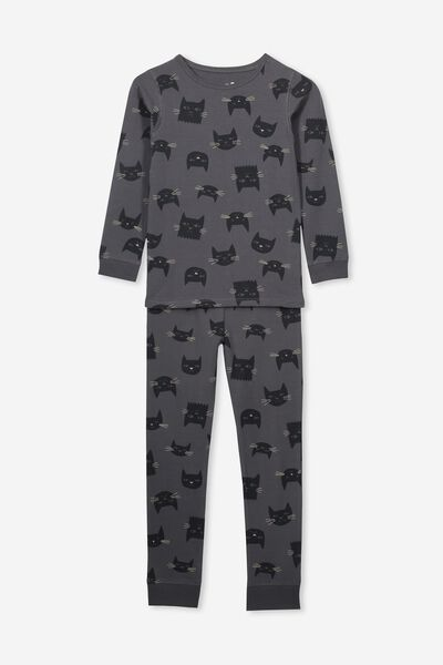 Ruby Long Sleeve Girls Pyjamas, BLACK CATS/BLACK