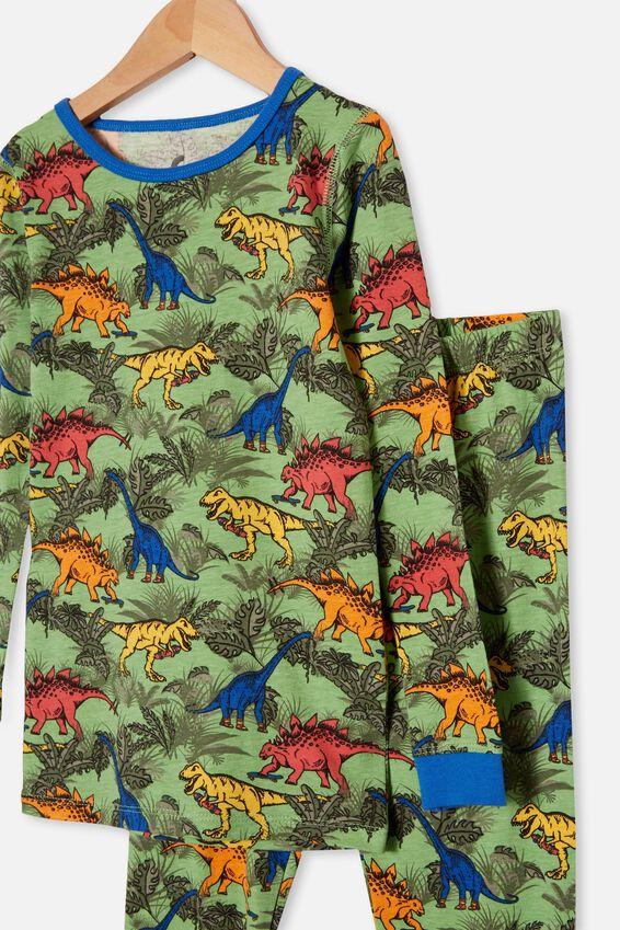Ethan Long Sleeve Pyjama Set, COLOURFUL DINOSAUR SPEARMINT