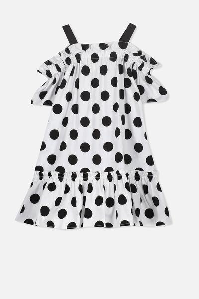 Kendall Cold Shoulder Dress, WHITE/BLACK POLKA DOT