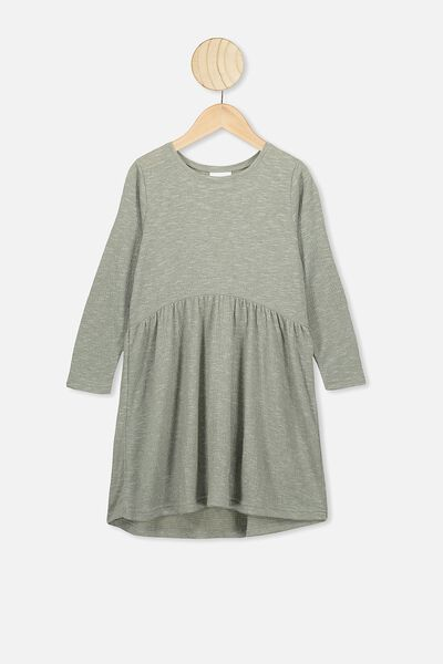 Freya Long Sleeve Dress, SILVER SAGE/TEXTURE